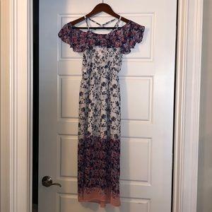 Girls cold shoulder maxi dress